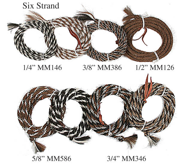 Handmade Horsehair Six Strand Mecates by Wild West Braiding