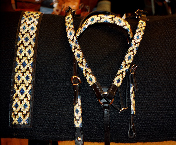 Handmade Beaded Tack and Saddle Blanket Set: click to enlarge