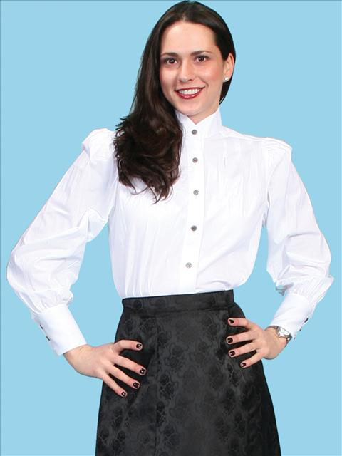 Western Style Solid White Poplin Blouse by Scully: click to enlarge