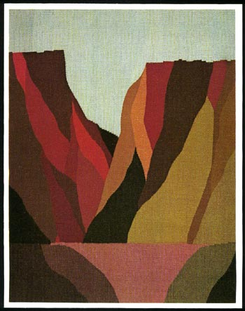 """Abiquiu Dam"" Tapestry by Tina B. Woolley: click to enlarge"