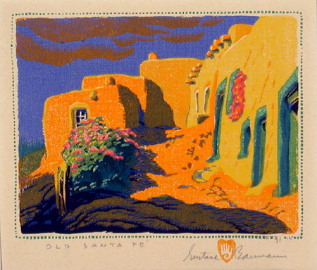 """Old Santa Fe"" Gustave Baumann Tapestry by Tina B. Woolley: click to enlarge"