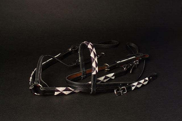 Headstall and Breastcollar set with black and silver beadwork on black leather