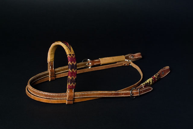 """Goldrush"" Handmade Beadwork Headstall: click to enlarge"