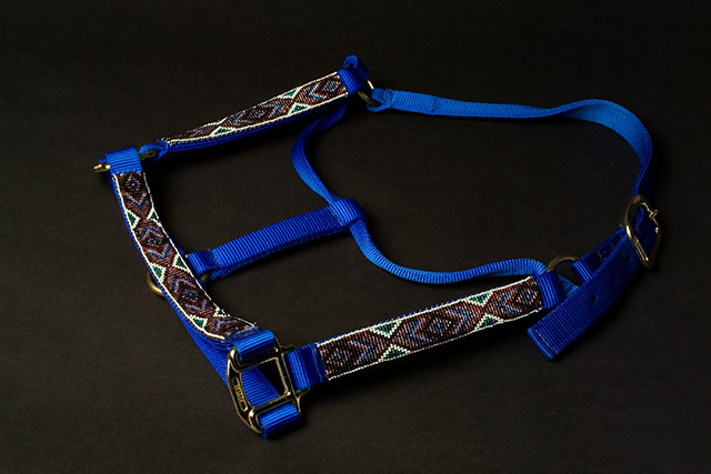 """Blue Comanche"" Beaded Nylon Halter: click to enlarge"