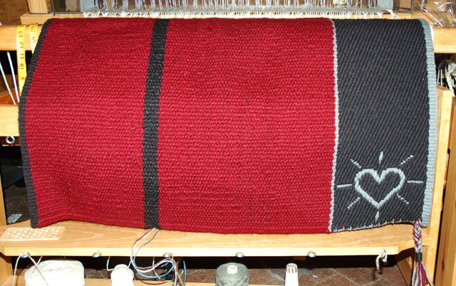 "Handmade ""Heart Brand"" Saddle Blanket: click to enlarge"
