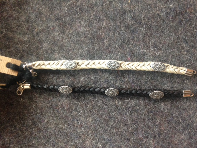 Cowboy Collectibles Horsehair Bracelets with Conchos: click to enlarge