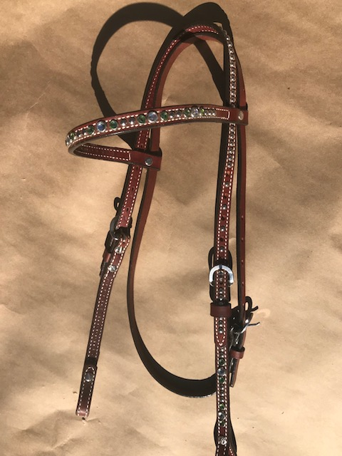 Weaver Leather Green Crystal Headstall: click to enlarge