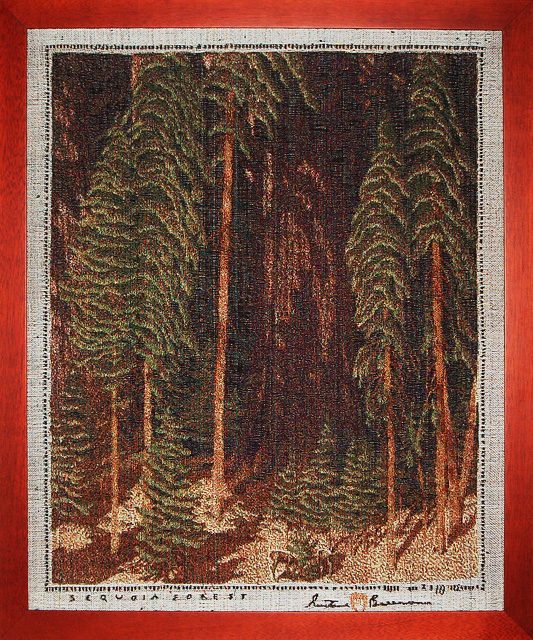 """Sequoia Forest"" Gustave Baumann Tapestry by Tina B. Woolley: click to enlarge"