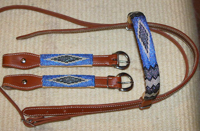 """Beaded Blues"" Beaded Headstall: click to enlarge"
