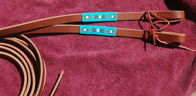 Handmade Beaded Leather Reins: click to enlarge