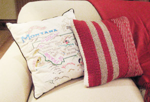Hand-Woven Sofa Pillows by Tina B. Woolley: click to enlarge