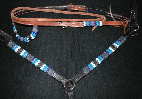 """Blue Sky"" Handmade Beaded Tack Set: click to enlarge"
