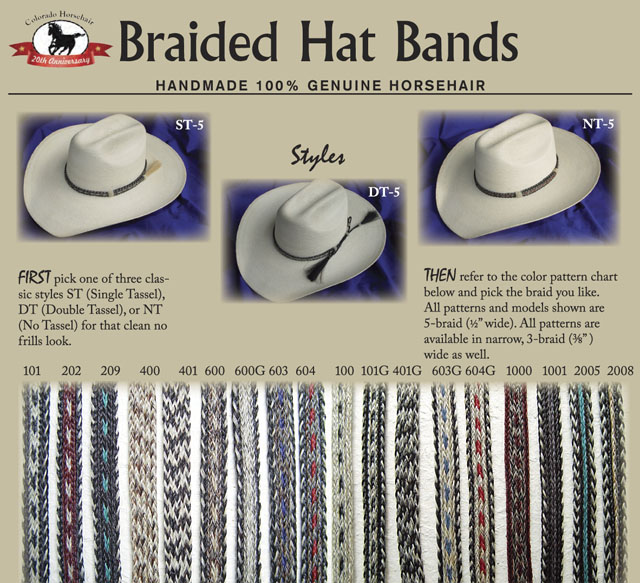 Hand-Braided Horsehair Hatbands
