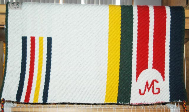 "Handmade ""Branded"" Saddle Blanket by Christina Bergh: click to enlarge"