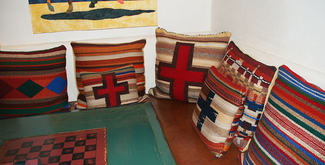 "Handwoven ""Cross Pillows"" by Tina B. Woolley: click to enlarge"