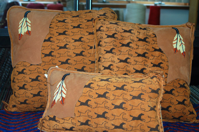 Handmade Leather Pillows With Beadwork: click to enlarge