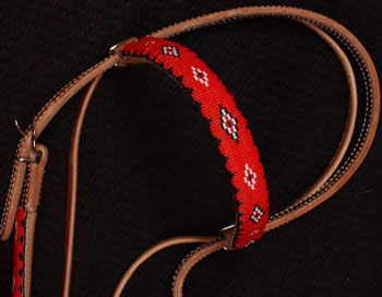 """Red Bandana"" Beaded Headstall: click to enlarge"