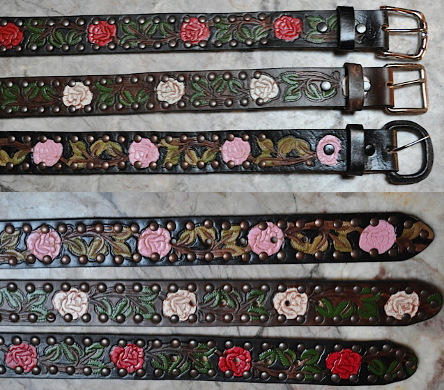 Tooled Rose Leather Belts by Rockmount