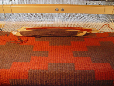 Rug On The Loom at Tina B. Woolley's Studio: click to enlarge