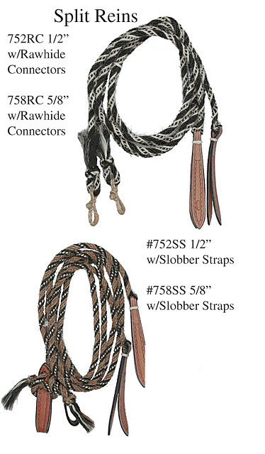 Handmade Braided Horsehair split Reins by Wild West Braiding