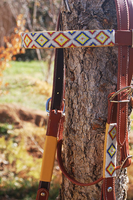 """Taos Morning"" Beaded Headstall: click to enlarge"