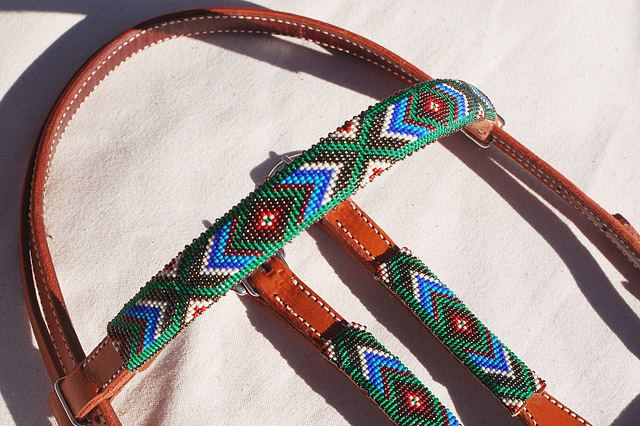 """Turquoise Summer"" Beaded Headstall: click to enlarge"