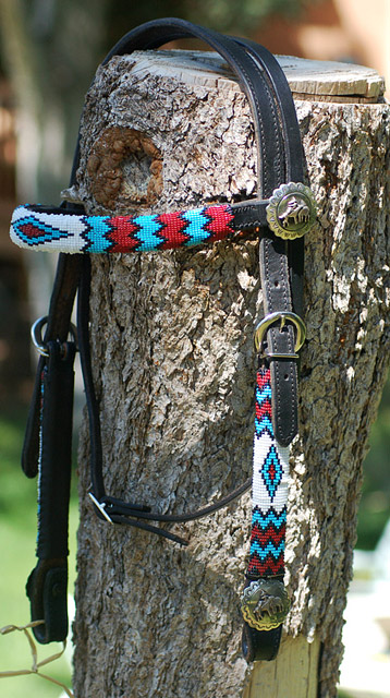 """Zuni"" Beaded Headstall: click to enlarge"