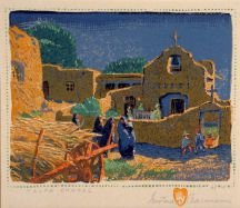 """Talpa Chapel"" Gustave Baumann Tapestry by Tina B. Woolley"