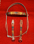 """Sun Mountain"" Beaded Headstall by The Brown Cow Saddle Blanket Company"