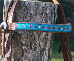 """Aqua Mountain"" Handmade Beadwork Headstall"