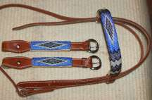 """Beaded Blues"" Beaded Headstall"