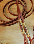 """Goldrush"" Beaded Leather Reins by The Brown Cow Saddle Blanket Company"