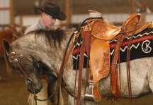A customer and his horse with one of our Branded Saddle Blankets