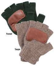 Ragg Wool Fingerless RanchHands Gloves with Deerskin Palm by Schaefer Ranchwear