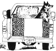 A drawing of a dog in the back of a pickup truck with a saddle blanket hanging over the tailgate.