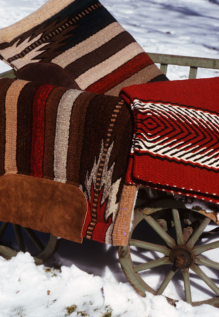 saddleblankets woven by Christina Bergh at the Brown Cow Saddle Blanket Company Studio