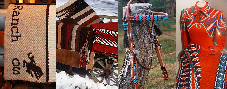 Several western saddle blankets and a beadwork headstall made by Christina Bergh Woolley.