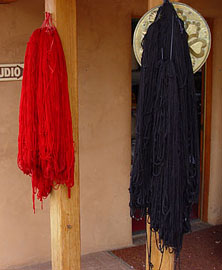 yarn hanging to dry outside the studio