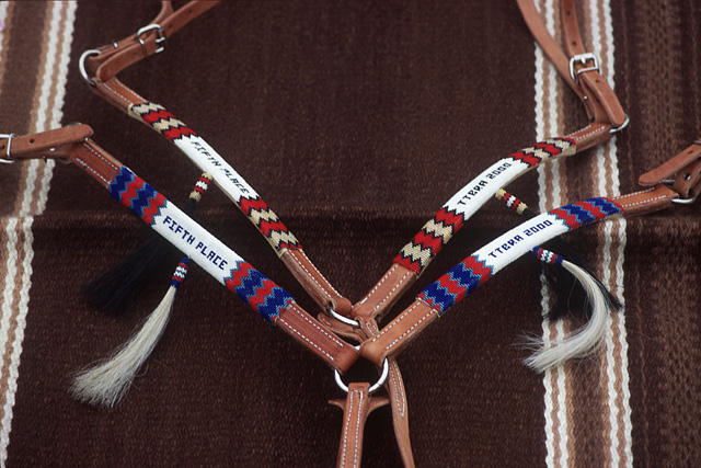 hand-made beadwork designs with competition awards on leather breastcollars made in santa fe by the brown cow saddle blanket company