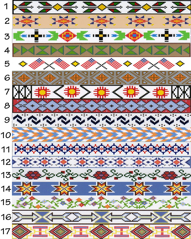 Beadwork patterns available for custom made beaded tack from The Brown Cow Saddle Blanket Company