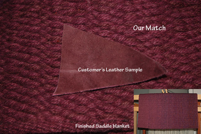 a purple saddle blanket that we wove from yarn that we custom dyed to match a leather sample sent in by the customer