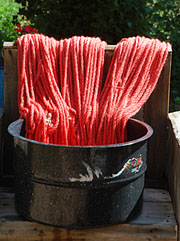 yarn in the dye pot at The Brown Cow Saddle Blanket Company studio