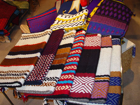 Custom made hand-woven saddle blankets by Tina B  Woolley